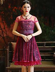 Gaine Robe Femme Sortie Vintage,Fleur Col Arrondi Mi-long Manches Courtes Rouge Rayonne / Polyester Eté Taille Haute Non Elastique Moyen