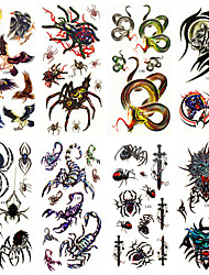 8 Designs Waterproof Temporary Tattoos Sticker Animal Pattern for  Body Art Beauty Makeup 24cm*9.5cm (Assorted Pattern)