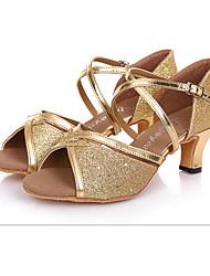 Chaussures de danse(Noir Bleu Argent Or) -Non Personnalisables-Talon Bas-Daim-Latines Salsa