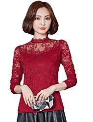 Feminino Blusa Para Noite Casual Tamanhos Grandes Simples Moda de Rua Primavera Outono,Sólido Poliéster Colarinho Chinês Manga Longa Média