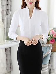 Женский На каждый день / Офис Осень Рубашка V-образный вырез,Простое Однотонный Белый Длинный рукав,Полиэстер,Средняя