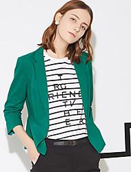 Feminino Blazer Trabalho Simples Primavera / Verão,Sólido Azul / Branco / Verde Algodão / Poliéster / Elastano Lapela Chanfrada Manga ¾