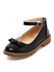 Women's Soft Material Buckle Round Closed Toe Low-heels Solid Pumps-Shoes