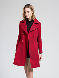 BORME Women's Shirt Collar Long Sleeve Trench Coat Red-Y061