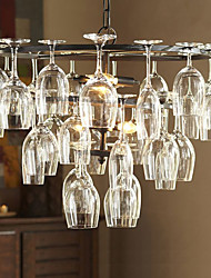 E12/E14 Bulb Base Vintage Pendant Lights with 4 Lights in Wine Glass Feature(Wine Glass NOT Included)