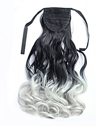22'' (55CM) Women Long Wave Curly Synthetic Hair Ponytail Ombre Ribbon Pony Tail Hair Extensions Hair Piece1BTGray