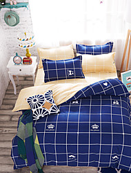 Bedtoppings Duvet Cover 4PCS Set with Crown/Chequer Prints
