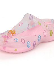 Para Meninas-Chinelos e flip-flops-Arrendondado / Sandálias-Rasteiro-Rosa / Branco-PVC-Casual