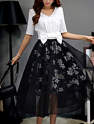 Women's Floral Black Skirts,Casual / Day / Holiday Midi