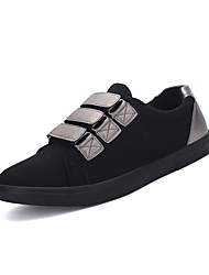 Men's Sneakers Comfort Fabric Spring Fall Casual Outdoor Comfort Magic Tape Flat Heel Black Silver Flat