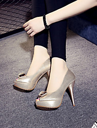 Damen-High Heels-Outddor-Wildleder-StöckelabsatzSilber / Gold