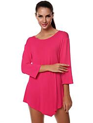 Damen Solide Street Schick Ausgehen T-shirt,Rundhalsausschnitt Herbst ¾-Arm Rot / Schwarz / Grau Baumwolle Mittel
