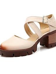 Черный / Серый / Бежевый-Женский-Для прогулок-Полиуретан-На толстом каблуке-На каблуках-Обувь на каблуках