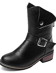 Women's Boots Winter Motorcycle Boots / Round Toe Dress Low Heel Button / Zipper Black / Brown / Beige Others