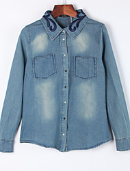 Women's Casual/Daily Simple Fall Denim JacketsSolid Shirt Collar Long Sleeve Blue Cotton Medium
