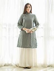 Courte Robe Femme Décontracté / Quotidien Vintage,Damier Mao Mi-long Manches Longues Blanc / Noir Lin Automne / Hiver Taille NormaleNon