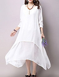 Women's Casual / Day Solid Loose / Swing Dress ,False Two Literature and Art  V Neck Maxi Cotton / Linen