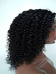 14-26 inch Kinky Curly Brazilian Human Hair Natural Color Small Curl Lace Front Wig for Fashion Women