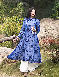 Ramie Cotton Women's Casual/Daily Vintage A DressEmbroidered Stand Midi Long Sleeve Blue Others Fall