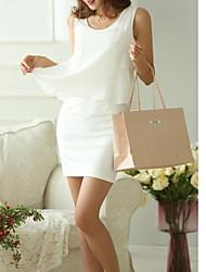 женская корейский поддельный два мини-платье шифон