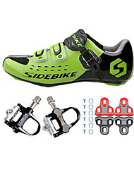 01 Cycling Shoes Unisex Outdoor / Road Bike Sneakers Damping / Cushioning Black / Green-sidebike And Black Rock Pedals