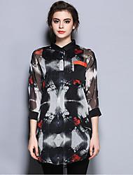 Women's Going out Vintage Spring BlousePrint Shirt Collar  Sleeve Black Cotton / Polyester Thin