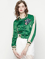 Women's Casual/Daily Street chic Spring / Fall JacketsEmbroidered Standing Collar Long Sleeve Green Polyester Medium