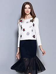 AINIER  Women's Going out Simple Spring Set SkirtEmbroidered Round Neck Long Sleeve White