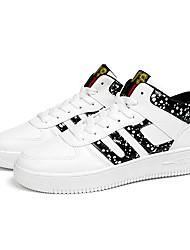 Primavera dos homens Athletic Shoes / cair conforto pu ocasional calcanhar plana sneaker preto / branco
