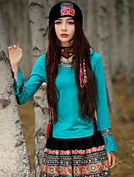 Mulheres Camiseta Happy-Hour Chinoiserie Primavera / Outono,Bordado Azul Algodão / Elastano Decote Redondo Manga Longa Média