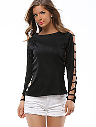 Women's Going out Simple All Seasons T-shirt Solid Round Neck Cut Out Long Sleeve
