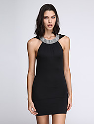 Women's Sexy Inelastic Sleeveless Above Knee Dress (Cotton Blends)