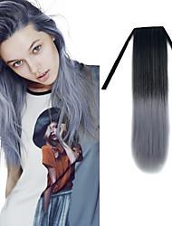 22-Zoll-schwarz Oma grau gerade Band in der synthetischen Haarverlängerung