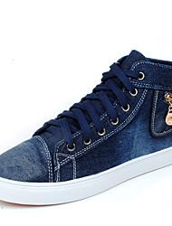 Masculino-Botas-Rasos-Rasteiro-Preto / Azul-Jeans-Casual