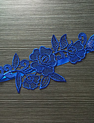 Garter Stretch Satin / Lace Flower Blue