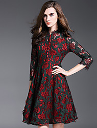 Women's Going out Vintage / Sophisticated A Line DressJacquard V Neck Above Knee  Sleeve Red Polyester
