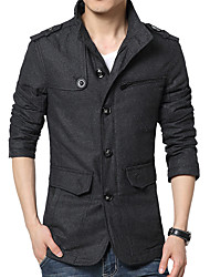 Men's Solid Casual / Work CoatWool / Polyester Long Sleeve-Black