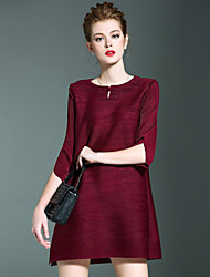LOVE PLEATS  Women's Sexy / Simple Solid Loose Dress,Round Neck Mini Polyester