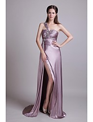 Formal Evening Dress Sheath / Column One Shoulder Court Train Stretch Satin with Appliques / Beading / Crystal Detailing