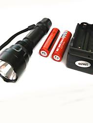Torce LED LED 4.0 Modo 500 Lumens Ultraleggero Cree XP-E R2 18650 Campeggio/Escursionismo/Speleologia-Altro,Nero Lega di alluminio