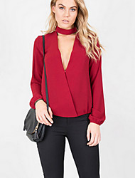 Women's Going out / Formal Simple / Street chic Summer / Fall BlouseSolid Crew Neck Long Sleeve Red