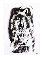 1pc Fake Tattoo Temporary Moon Wolf Howl Picture Design Cool Women Men Body Back Arm Art Tattoo Sticker HB-320
