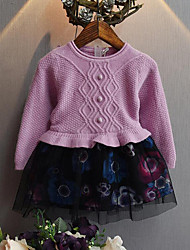 Girl's Casual/Daily Patchwork Dress / Sweater & CardiganCotton / Polyester Winter / Spring / Fall Purple / Beige