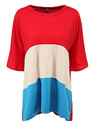 Damen Einfarbig Einfach / Street Schick Lässig/Alltäglich T-shirt,Rundhalsausschnitt Sommer Kurzarm Blau / Rot Polyester Mittel