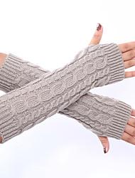 Женская зимняя шерсть вязание сплошной цвет перчатки