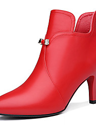 Damen-Stiefel-Büro Lässig-Kunststoff-Stöckelabsatz-Modische Stiefel-Schwarz Rot
