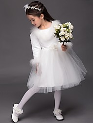 Ball Gown Knee-length Flower Girl Dress - Satin Long Sleeve Jewel with Flower(s)
