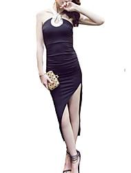 Women's Simple Solid Bodycon Dress,Halter Asymmetrical Polyester