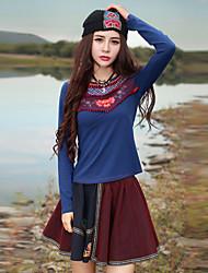 наша история выходит Chinoiserie весна / осень T-shirtembroidered вокруг шеи длинный рукав синий полиэстер / спандекс среды