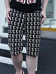 Masculino Shorts Casual Estampado Poliéster Preto